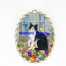 BLACK WHITE CAT PANSY BUTTERFLY PORCELAIN PIN BROOCH