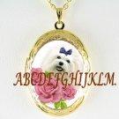 MALTESE DOG VICTORIAN ROSE PORCELAIN CAMEO VINTAGE ANTIQUE SMALL LOCKET