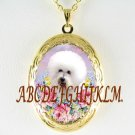 BICHON FRISE DOG ROSE FORGET ME NOT  PORCELAIN CAMEO VINTAGE ANTIQUE SMALL LOCKET