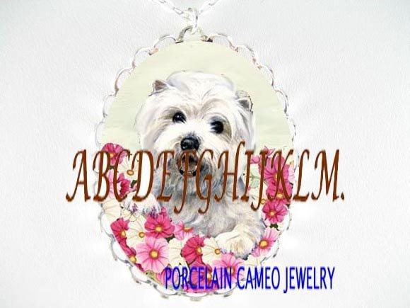 WESTIE TERRIER DOG PINK FLOWER PORCELAIN CAMEO NECKLACE