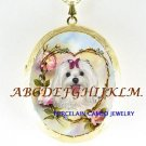 MALTESE DOG ROSE HEART CAMEO PORCELAIN LOCKET NECKALCE