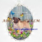PUG DOG PANSY BUTTERFLY CAMEO PORCELAIN NECKLACE