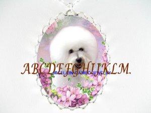 BICHON FRISE DOG WITH VIOLET CAMEO PORCELAIN NECKALCE