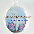WHITE KITTY CAT FORGET ME NOT PORCELAIN CAMEO LOCKET