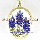 TEXAS BLUEBONNET FLOWER PORCELAIN CAMEO LOCKET NECKLACE