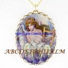 2 SAMOYED DOG WITH ANGEL CAMEO PORCELAIN NECKALCE
