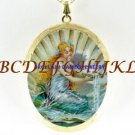 VICTORIAN MERMAID SEASHELL CAMEO PORCELAIN  LOCKET