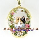 CALICO CAT PINK ROSE CAMEO PORCELAIN LOCKET NECKLACE