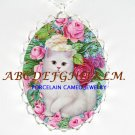 WHITE KITTY CAT ROSE FORGET ME NOT PORCELAIN NECKLACE