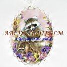 RACCOON MOM CUDDLE BABY PANSY ROSE PORCELAIN CAMEO NECKLACE