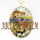 3 PLAYFUL KITTY CAT CAMEO PORCELAIN PENDANT NECKLACE