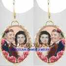RARE GONE WITH THE WIND ROSE PORCELAIN CAMEO EARRINGS-14