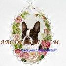 BOSTON TERRIER DOG PINK ROSE PORCELAIN CAMEO NECKLACE-31
