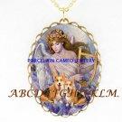 2 CORGI DOG WITH ANGEL PORCELAIN CAMEO NECKLACE