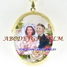 GONE WITH THE WIND WEDDING ROSE PORCELAIN CAMEO LOCKET
