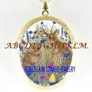 2 RABBIT BUNNY BUTTERFLY PORCELAINCAMEO LOCKET NECKLACE