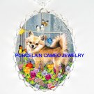 CHIHUAHUA DOG PANSY BUTTERFLY CAMEO PORCELAIN NECKLACE