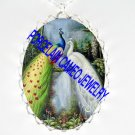 2 WHITE PEACOCK BIRD WATERFALL PORCELAIN CAMEO NECKLACE
