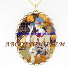 LADY YORKSHIRE DOG EIFFEL TOWER CAMEOPORCELAIN NECKALCE