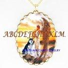 ANGEL WITH SIBERIAN HUSKY DOG PORCELAIN CAMEO NECKLACE