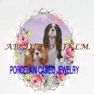 CAVALIER KING CHARLES SPANIEL DOG PORCELAIN PIN PENDANT