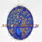 BLUE GOLDEN PEACOCK BIRD CAMEO PORCELAIN NECKLACE