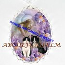 2 BLACK WHITE CAT IRIS ANGEL PORCELAIN CAMEO NECKLACE