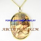 VICTORIAN SLEEPING BEAUTY FAIRY PORCELAIN CAMEO NECKLACE