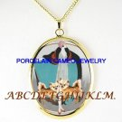 DECO LADY LONG HAIR CHIHUAHUA DOG PORCELAIN NECKLACE