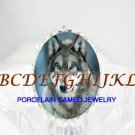 GREY WOLF SNOW CAMEO PORCELAIN ADJUSTABLE RING 5-9