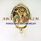 ART DECO LADY LEOPARD PORCELAIN CAMEO OPAL PIN PENDANT