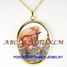 BABY SQUIRREL HOLDING FLOWER CAMEO PORCELAIN NECKLACE