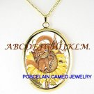 3 BABY SQUIRREL SUNFLOWER BEE PORCELAIN CAMEO NECKLACE