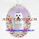 MALTESE DOG ROSE PORCELAIN CAMEO NECKLACE-33