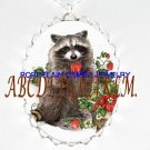 RACCOON HOLDING A STRAWBERRY CAMEO PORCELAIN NECKLACE