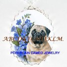 PUG DOG WITH FORGET ME NOT CAMEO PORCELAIN NECKLACE