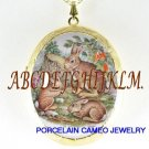 3 RABBIT BUNNY FAMILY MOM BABY IN THE FIELD*  CAMEO PORCELAIN LOCKET NECKLACE