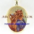 2 YORKSHIRE TERRIER DOG CAMEO PORCELAIN LOCKET NECKLACE