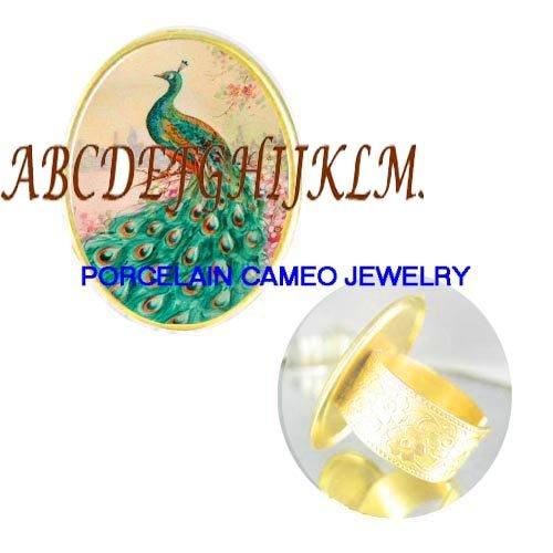 PEACOCK BIRD PINK DOGWOOD CAMEO PORCELAIN RING 5-9