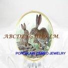 BUNNY RABBIT FAMILY MOM BABY PORCELAIN CAMEO RING 5-9