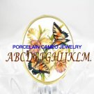 2 BUTTERFLY ORCHID FLOWER PORCELAIN CAMEO RING 5-9