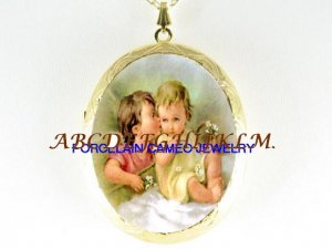 ANGEL KISSING BABY PORCELAIN CAMEO LOCKET NECKLACE