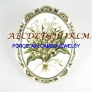 MAY LILY OF THE VALLEY CAMEO PORCELAIN PIN BROOCH