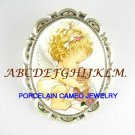 ANGEL KISSING KITTY CAT PORCELAIN CAMEO PIN BROOCH