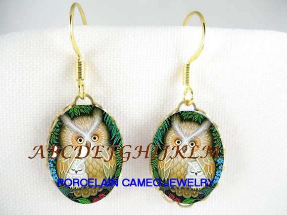HORNED OWL MOM CUDDLING BABY PORCELAIN CAMEO EARRINGS