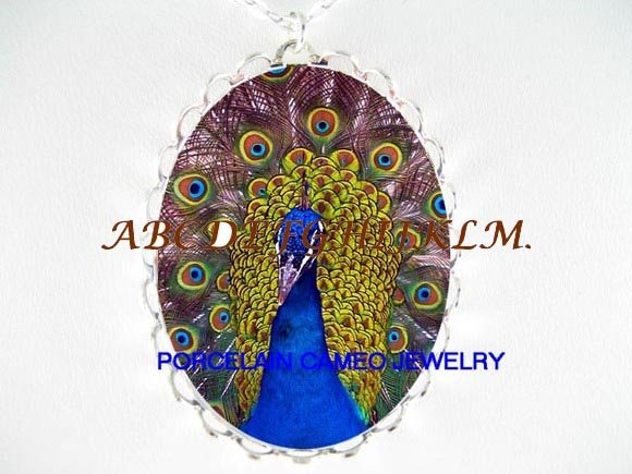 PURPLE PEACOCK BIRD PORCELAIN CAMEO PENDANT NECKLACE