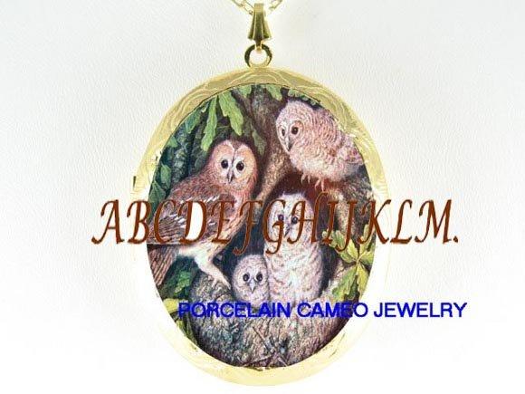 OWL FAMILY MOM BABY PORCELAIN CAMEO LOCKET NECKLACE