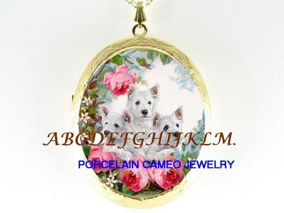 3 WESTIE PUPPY DOG COLLAGE PORCELAIN CAMEO LOCKET NECKLACE