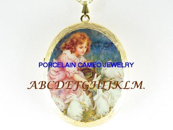 VICORIAN GIRL BUNNY RABBIT PORCELAIN CAMEO LOCKET