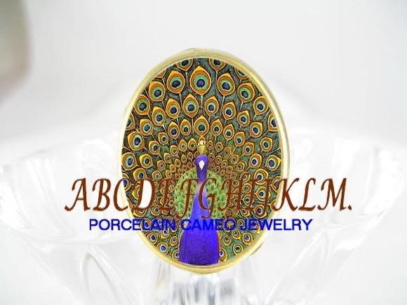 MOSAIC DESIGN GOLDEN PEACOCK PORCELAIN CAMEO RING 5-9